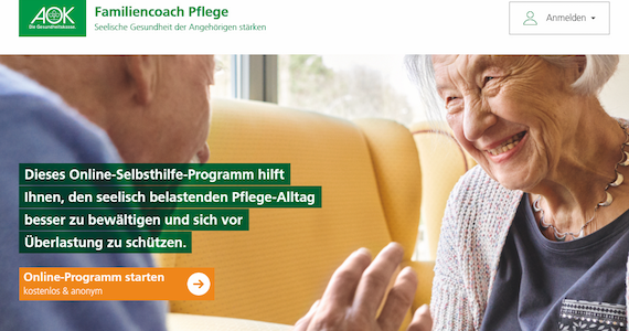 Screenshot: Familiencoach Pflege - stq